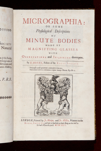 Micrographia, or, Some physiological descriptions of minute bodies made by magnifying glasses : with observations and inquiries thereupon / by R. Hooke . .