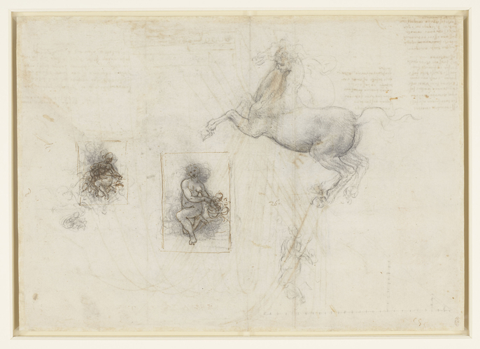 Recto: A horse and rider, and studies for Leda. Verso: Mortars bombarding a fortress