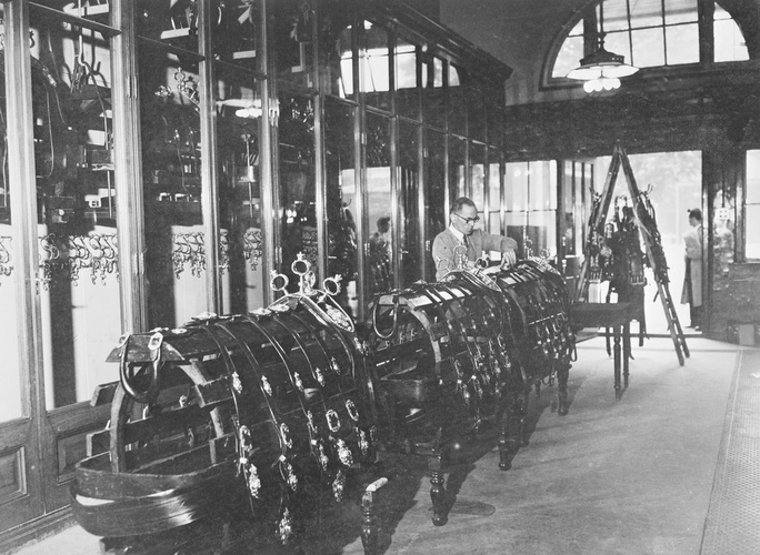 Photograph of the State Harness Room, Royal Mews, c. 1950