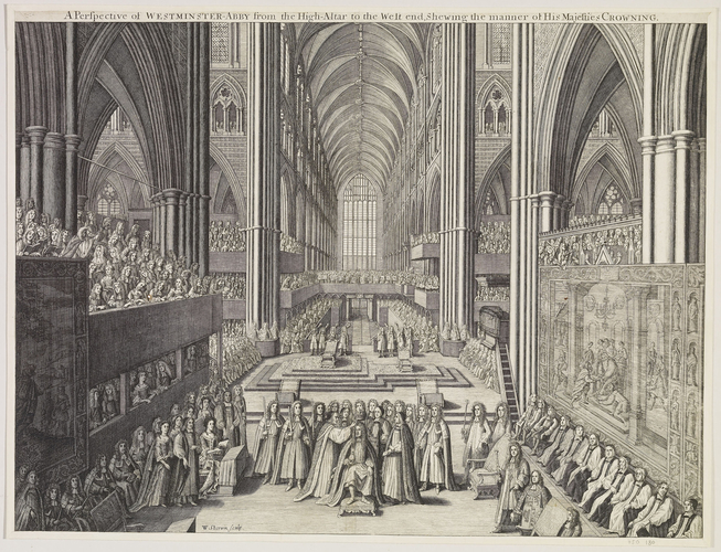 A Perspective of WESTMINSTER-ABBYfrom the High-Altar to the West end, Shewing the manner of His Majesties CROWNING