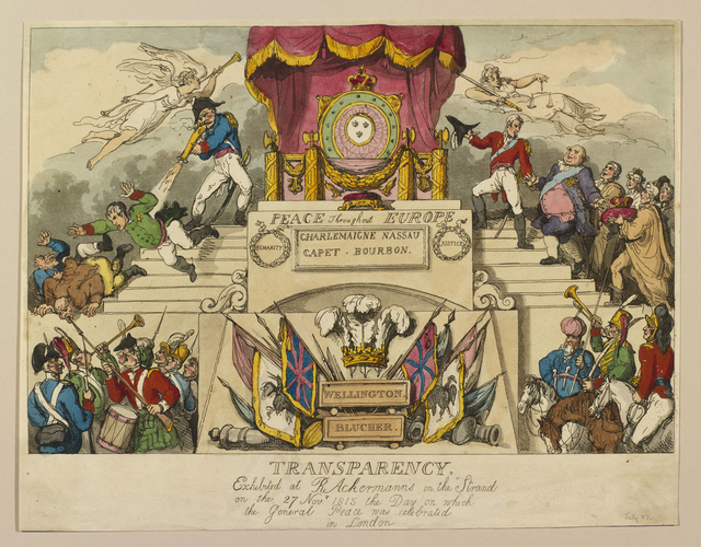 Transparency Exhibited at R. Ackermann's in the Strand, On November 27, 1815, the day on which the General Peace was celebrated in London