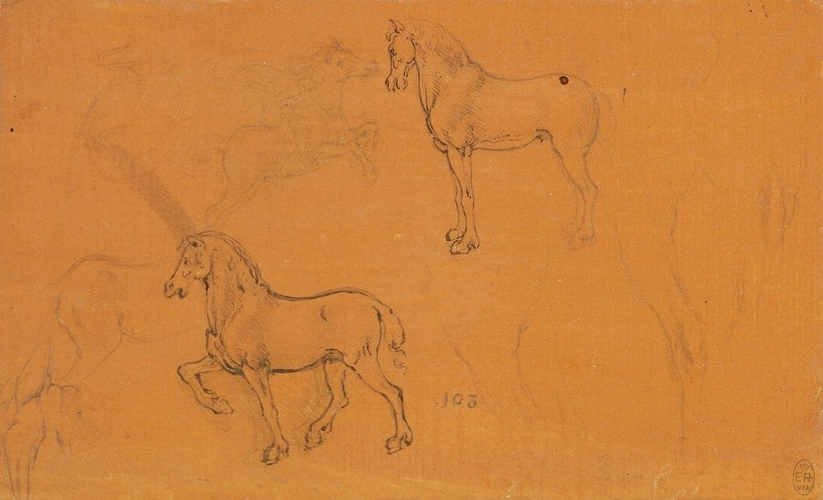 Recto: Horses. Verso: A slight sketch of a head and upper body