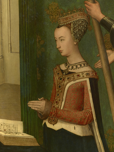 Master: The Trinity Altarpiece panels Item: Margaret of Denmark, Queen of Scots, presented by St George (obverse)
