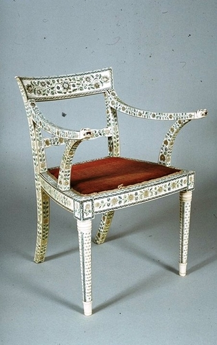 Set of ivory elbow chairs