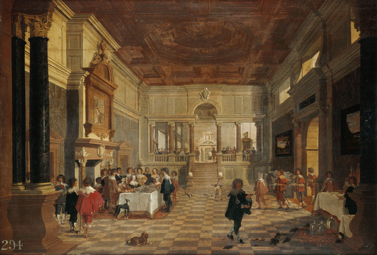 Charles I, Queen Henrietta Maria, and Charles II when Prince of Wales Dining in Public