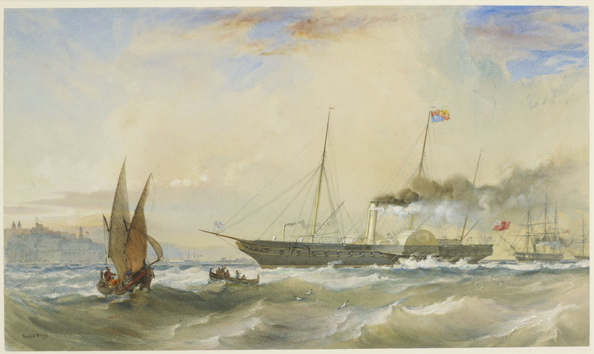 The Osborne with the Prince of Wales on board, going into Malta Harbour, attended by HMS Magicienne and HMS Doris, 5 June 1862