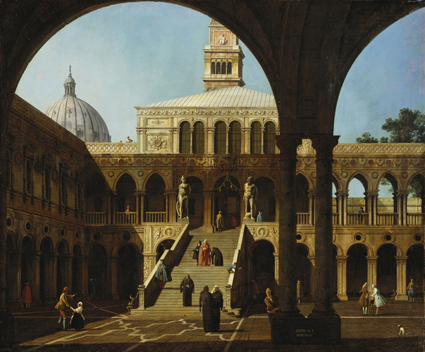 Venice: Caprice View of the Courtyard of the Doges' Palace with the Scala dei Giganti