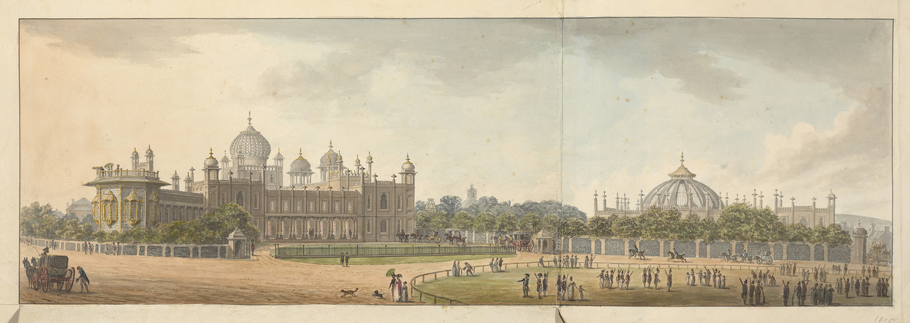 Designs for the Pavilion at Brighton: North Front towards the Parade, with flaps