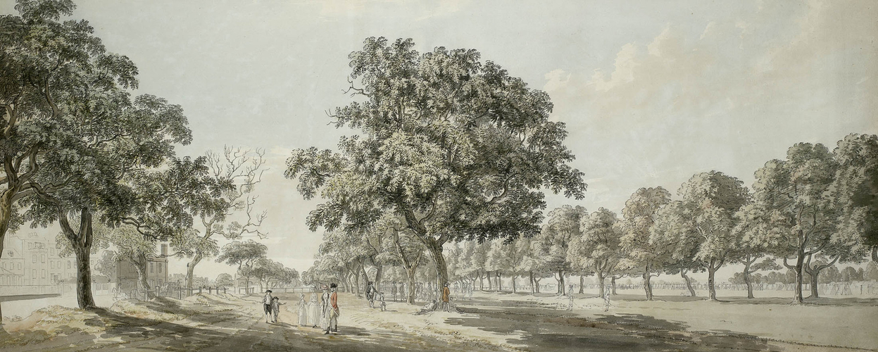 View of Grosvenor Gate in Hyde Park during the Encampment