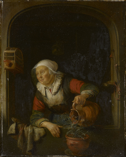 An Old Woman Watering a Pot of Pinks