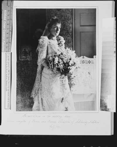 Princess Marie Louise of Schleswig-Holstein in her wedding dress, July 1891 [in Portraits of Royal Children Vol. 39 1890-1891]