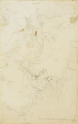 Recto: Three sketches of the course of the rivers Brembana, Trompia and Sabbia, with towns and distances marked. Verso: Heads in profile