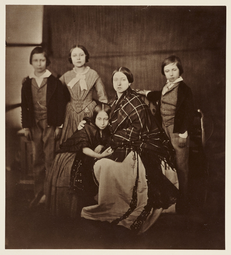 The Prince of Wales, the Princess Royal, Princess Alice, The Queen, and Prince Alfred, 1854 [from Portraits of Royal Children: Vol. 1 1848-1854]
