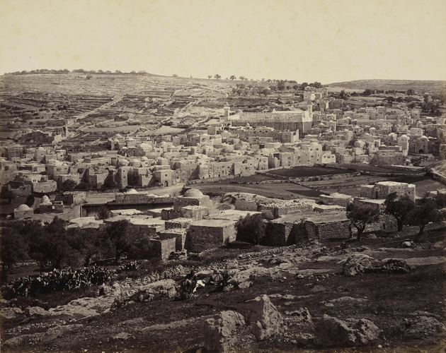 Hebron - the town showing the Mosque [Mosque of al-Khalil, also known as the Tomb of the Patriarchs or the Cave of Machpelah]