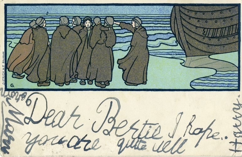 Postcard with an illustration of a group of travellers standing beside a boat