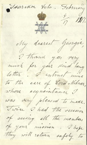 Letter to King George V