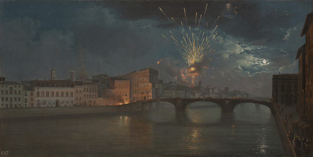 A view of the Arno in Florence by night