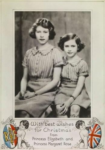 Portrait photograph of Princess Elizabeth and Princess Margaret as a Christmas card, c. 1939