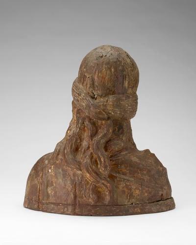 Polychrome female bust