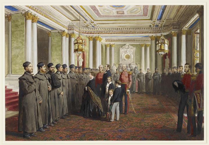 Королева Виктория и Принц Альберт осматривают раненых Гренадерских Гвардейцев в Букингемском Дворце