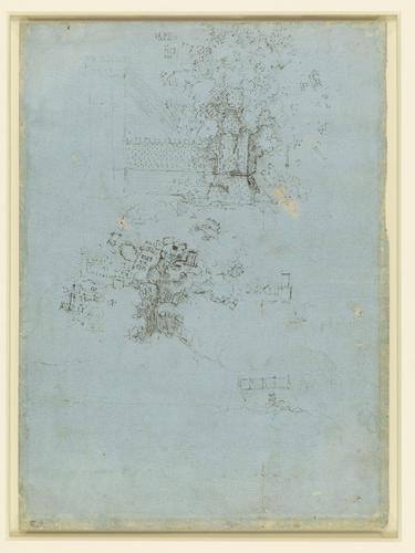 Recto: Studies of gun-barrels and mortars. Verso: A town wall being blown up