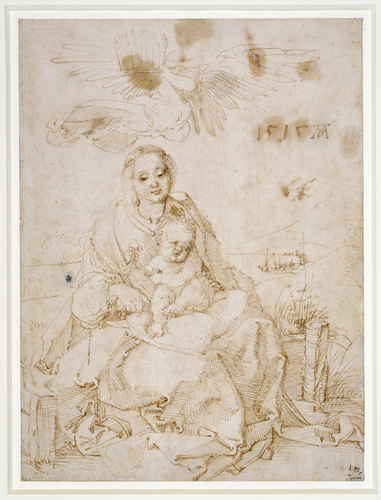 The Virgin and Child on a grassy bank, crowned by an angel