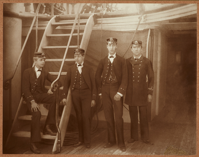 Prince Albert Victor and Prince George on board HMS Bacchante