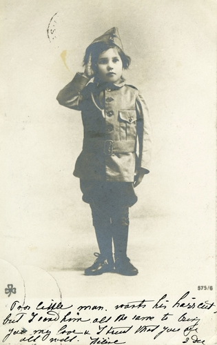 Postcard of young boy in uniform
