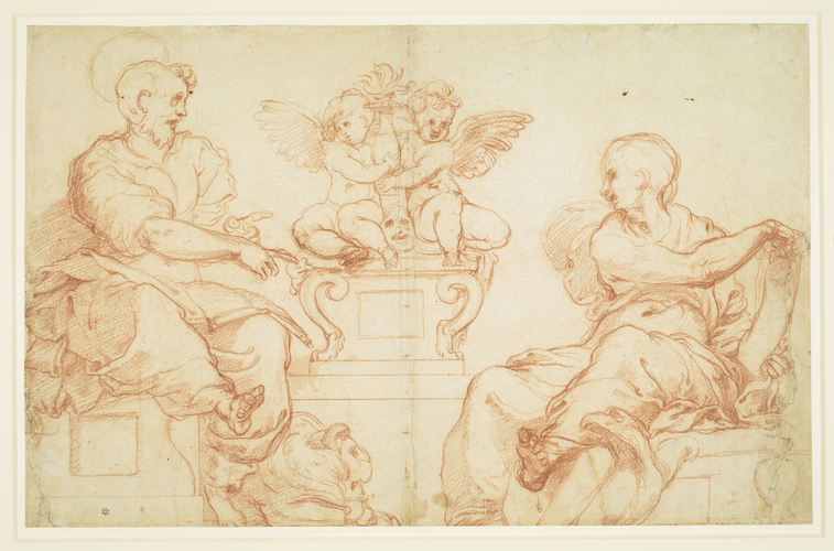 St Mark and St John with putti