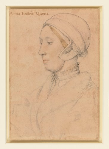 Queen Anne Boleyn (c. 1500-1536). On the verso, a coat of arms of the Wyatt family, and other heraldic sketches