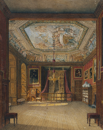 King's Eating Room, captioned by Pyne as 'Queen Anne's Bed', Windsor Castle