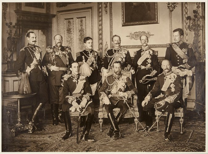 Nine sovereigns at Windsor for the funeral of King Edward VII, 1910