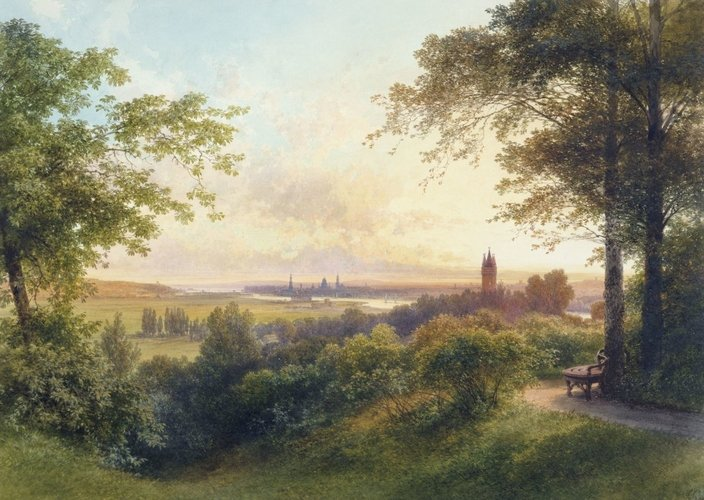 A distant view of Potsdam at sunset