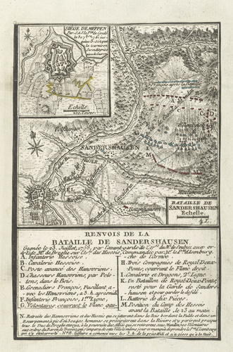 Master: Maps of Germany, Europe and North America, 1756-63 Item: Map of Meppen, 1761, and Sandershausen, 1758 (Meppen, Lower Saxony, Germany) 52?41'26