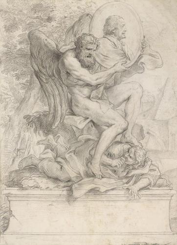 Recto: An allegorical design in honour of Pietro da Cortona. Verso: Study for the figure of Time