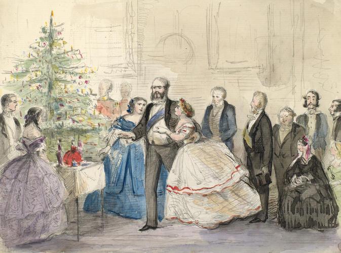 The Cambridge family round the Christmas tree