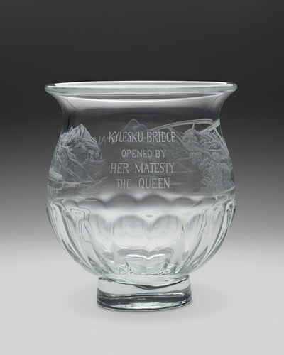 Glass bowl etched with Kylesku Bridge and HMY Britannia