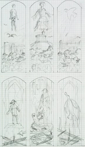 Design for new stained glass windows in the Private Chapel, Windsor Castle