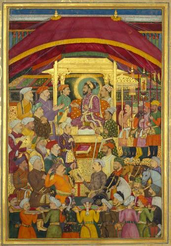 Master: The Padshahnama Item: Shah-Jahan receives the Persian ambassador, Muhammad-Ali Beg (26 March 1631)