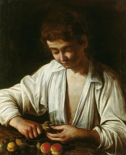 Boy Peeling Fruit