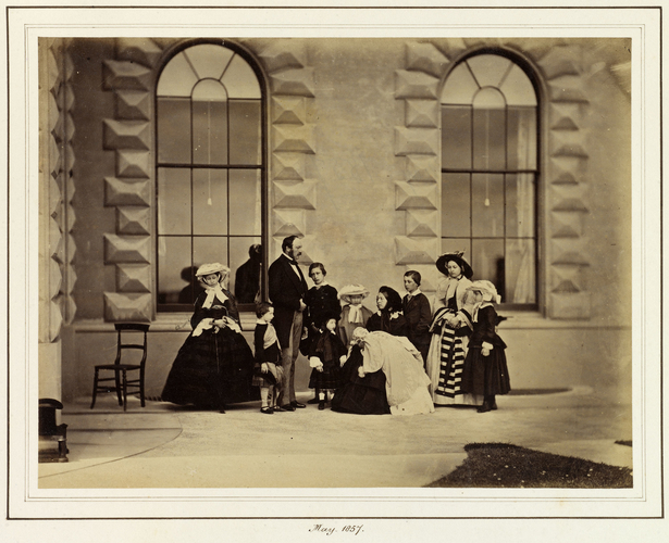Queen Victoria and Prince Albert with their nine children at Osborne
