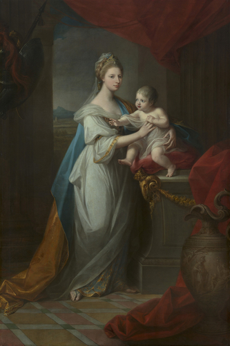 Augusta, Duchess of Brunswick (1737-1813) with her son Charles George Augustus (1766-1806)
