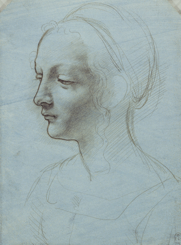 The head and shoulders of a woman, almost in profile