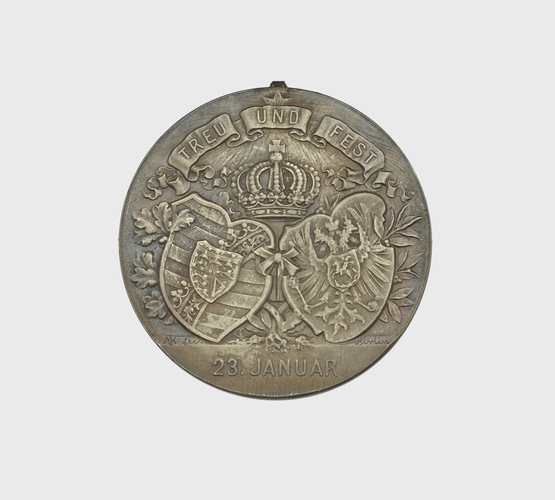 Silver Wedding medal of Duke Alfred of Saxe-Coburg & Grand Duchess Marie. Belonged to Queen Victoria
