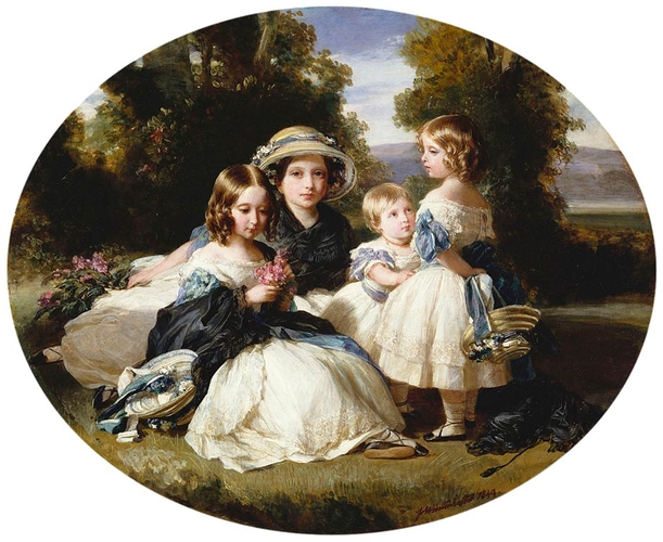 Victoria, Princess Royal (1841-1901), Princess Alice (1843-1878), Princess Helena (1846-1923), and Princess Louise (1848-1939)