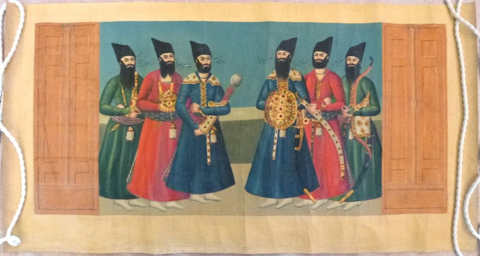 Master: The Court of Futteh Ali Shah : the Shah holding audience. Item: The Junior princes standing below the steps of the throne