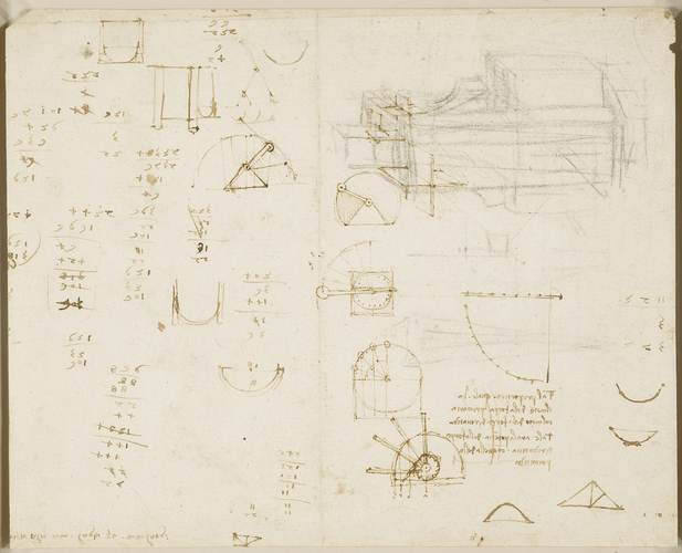 Recto: Studies for the Last Supper, and architectural and geometric sketches. Verso: Calculations with architectural, engineering, and geometric sketches
