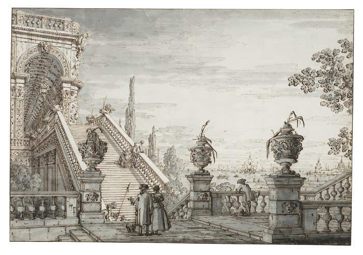 A capriccio with a monumental staircase