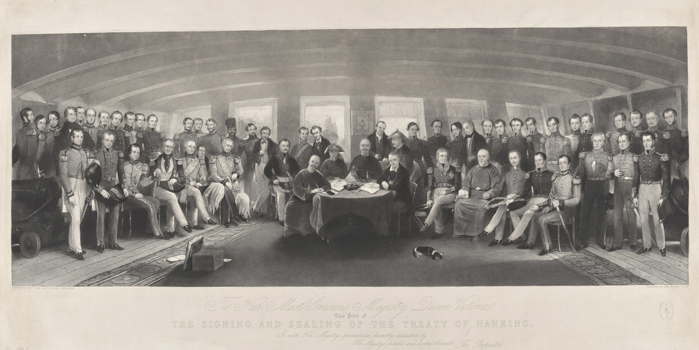 Master: Signing of the Treaty of Nanking. 29 Aug 1842. Item: The signing and sealing of the Treaty of Nanking, 29 August 1842