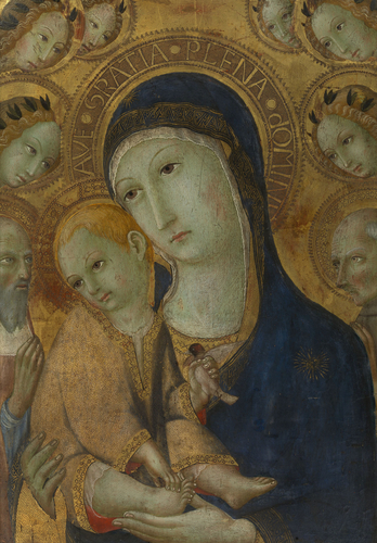 The Virgin and Child, Two Saints and six Angels